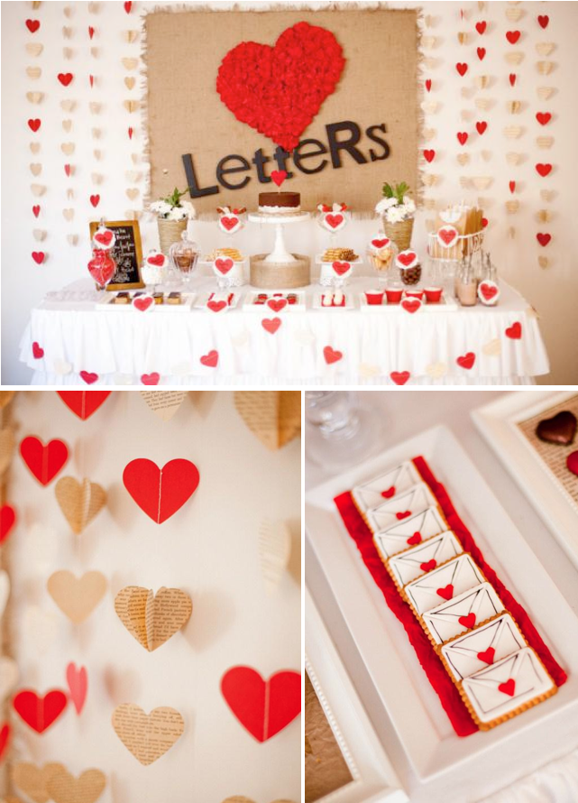 love letters dessert table husband birthday heart party rh pinterest com