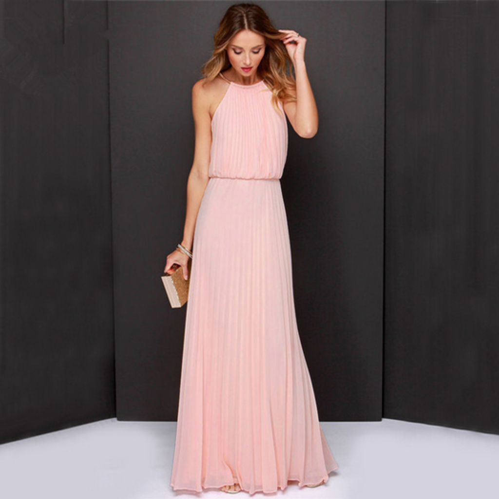 Sexy Halter Pleated Design Maxi Dress | Products | Pinterest ...