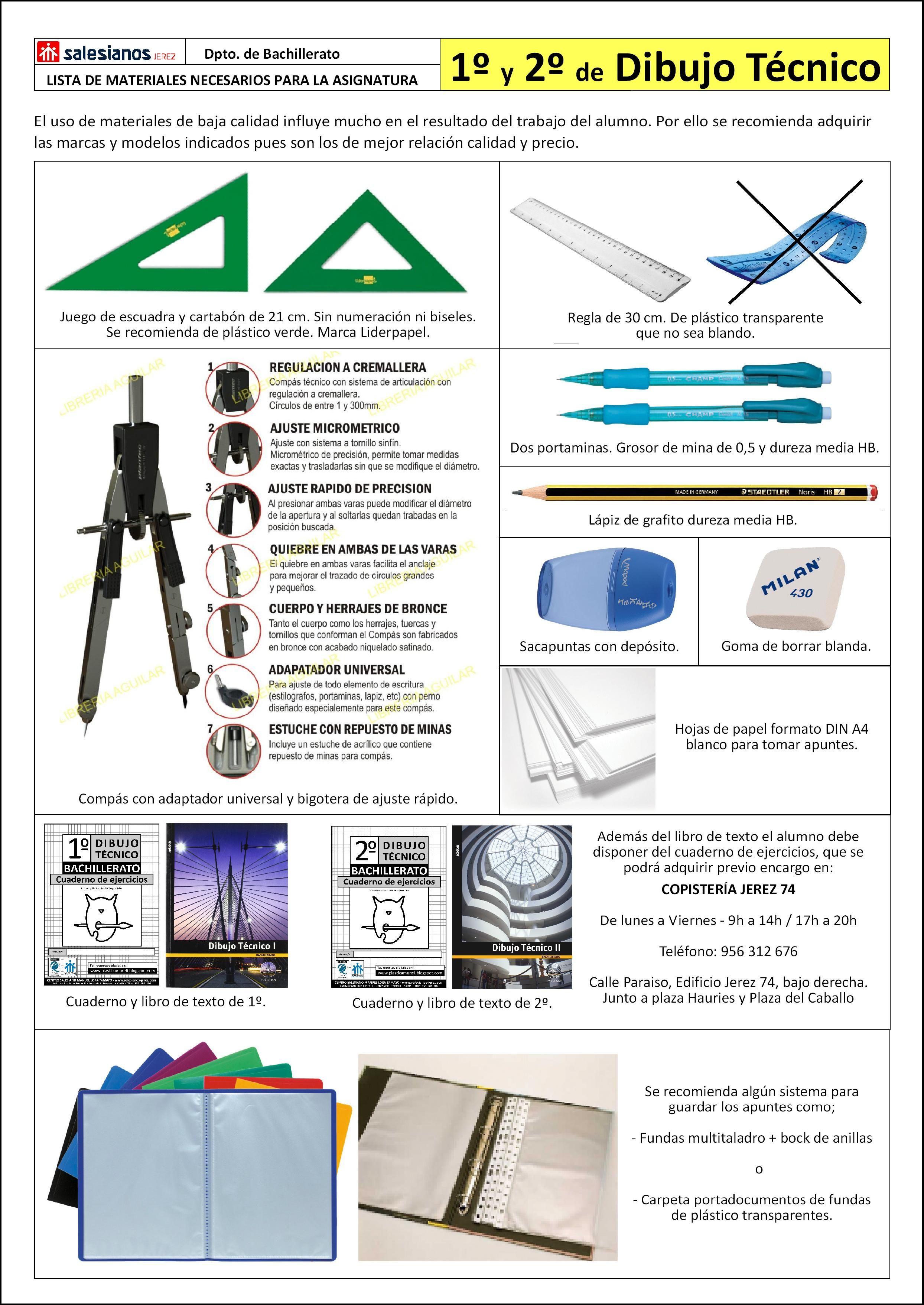Lista De Materiales Necesarios Para La Asignatura De Dibujo Tecnico 1º Y 2º De Bachillerat Materiales De Dibujo Tecnico Tecnicas De Dibujo Materiales De Dibujo