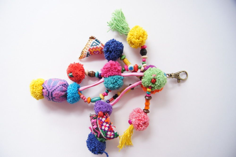 """Bright Tassel BaublesThese fun accent baubles are a great addition to a market bag, purse, key chain or even room decor.   Beautiful tribal textile charms include hand stitched vintage fabric textile shapes, cotton pompoms, colored wooden beads and small colored jungle bells. All attached to a sturdy metal opening clasp.Origin: ThailandSize: approx. 9"""" long with 4-5 strings.Materials: Vintage Fabric, Cotton Tassels, Wooden BeadsNotes:Each Bauble is unique.  No..."""