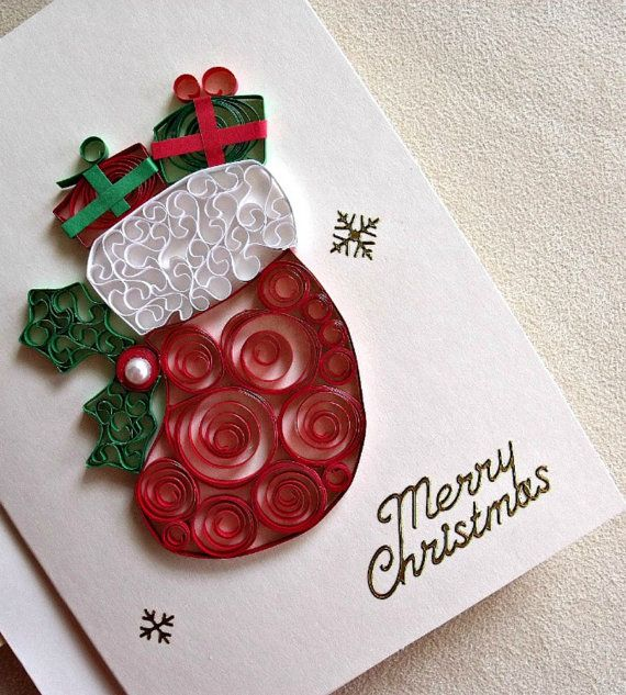 Handmade Paper Quilled Christmas Card Merry Christmas Stocking Quilling Christmas Paper Quilling Cards Quilling Cards