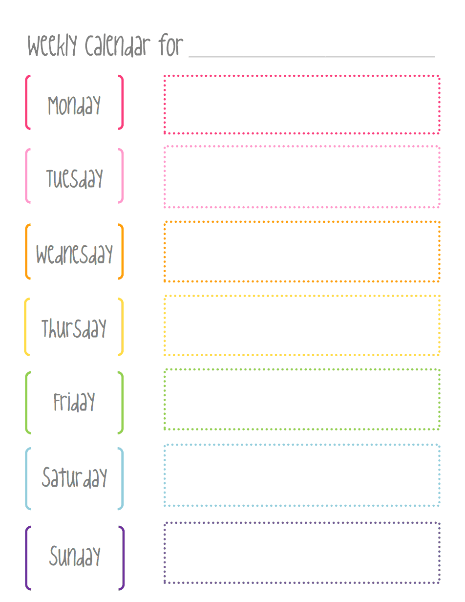 Weekly CalendarPdf   Pinteres