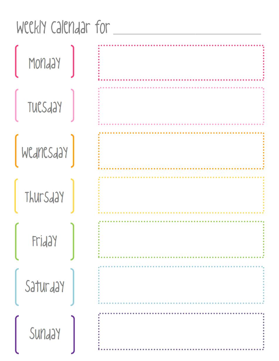 image regarding Weekly Calendar Printable identify Weekly calendar.pdf  Do-it-yourself Weekly calendar, Weekly