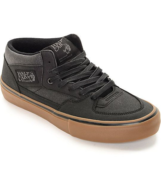6d5d4673e4 Vans Half Cab Pro Xtuff Black   Gum Skate Shoes in 2019