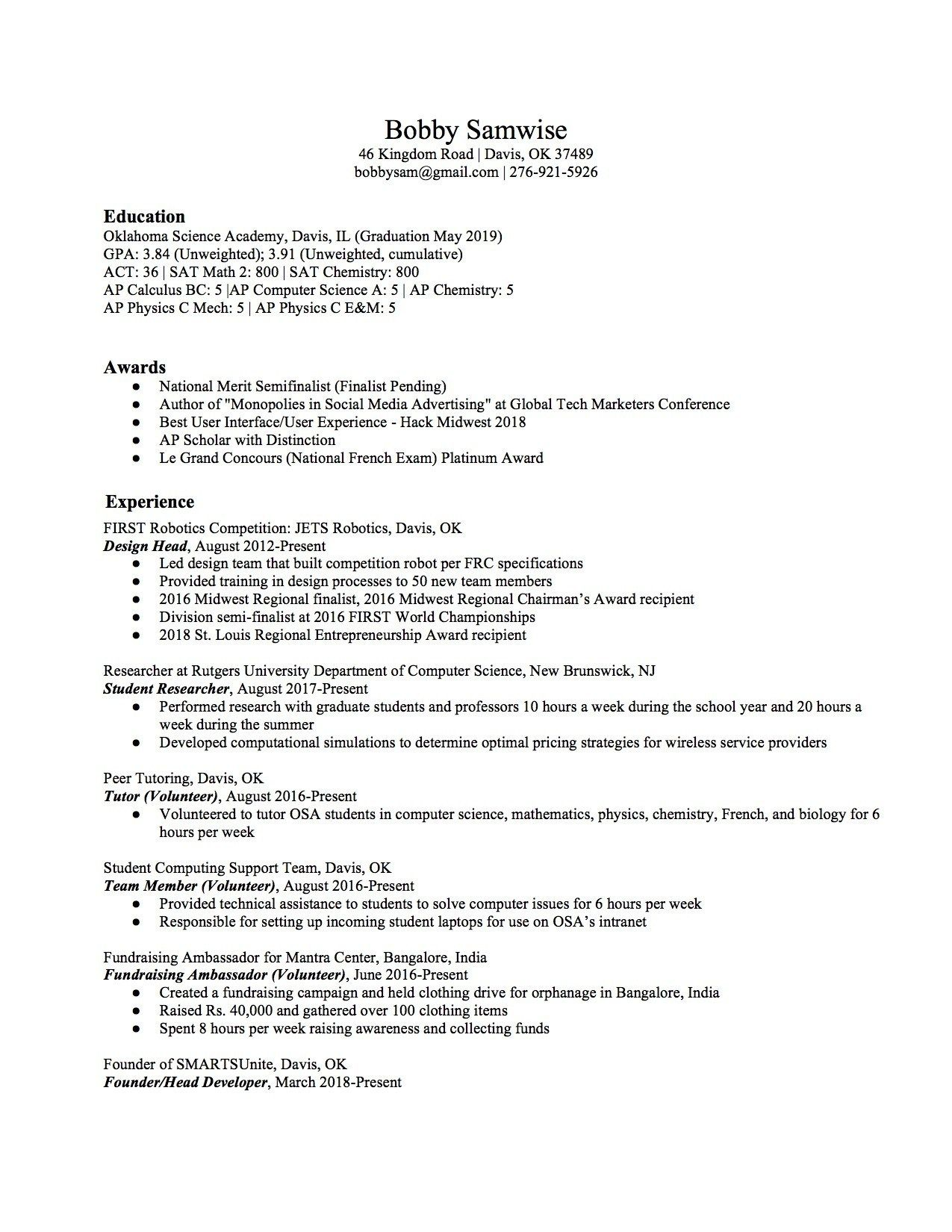 High School Student Resume Sample & Writing Tips High