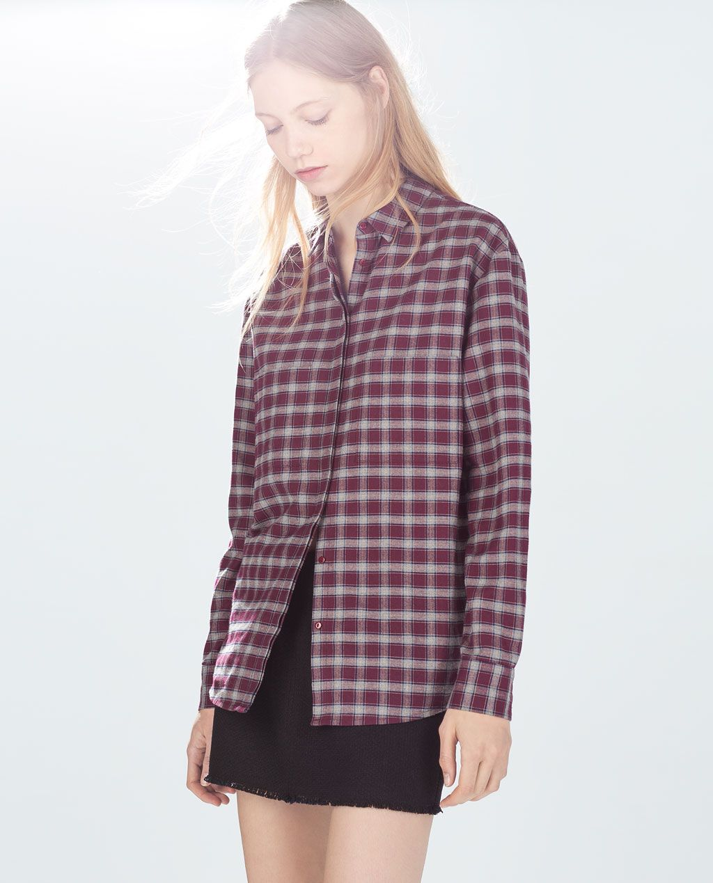 Image 2 of OVERSIZED CHECKED T-SHIRT from Zara