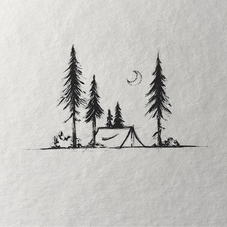 "Photo of Sarah Hernandez on Instagram: ""Practice with a brush pen ^^ Still fun to do these little camping scenes.  Have a great Week  #lostswissmiss  #illustration #artwork…"""