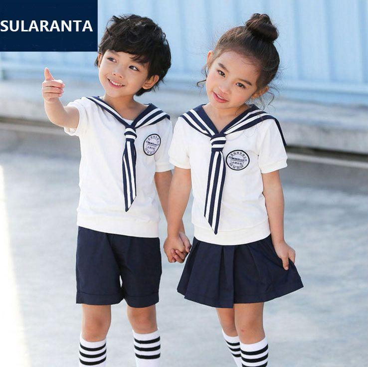 e8d486e0f Children Girls Boys Summer Cotton Sailor Student Kids School Uniform Set  Suit T Shirt Tops Skirt