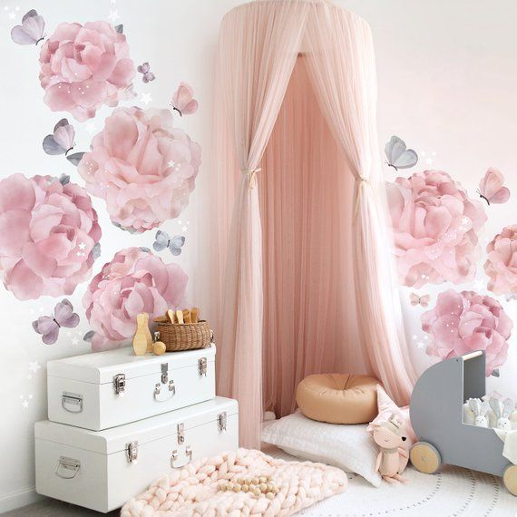 peonies butterflies decal wall stickers large floral on wall stickers for bedroom id=50421