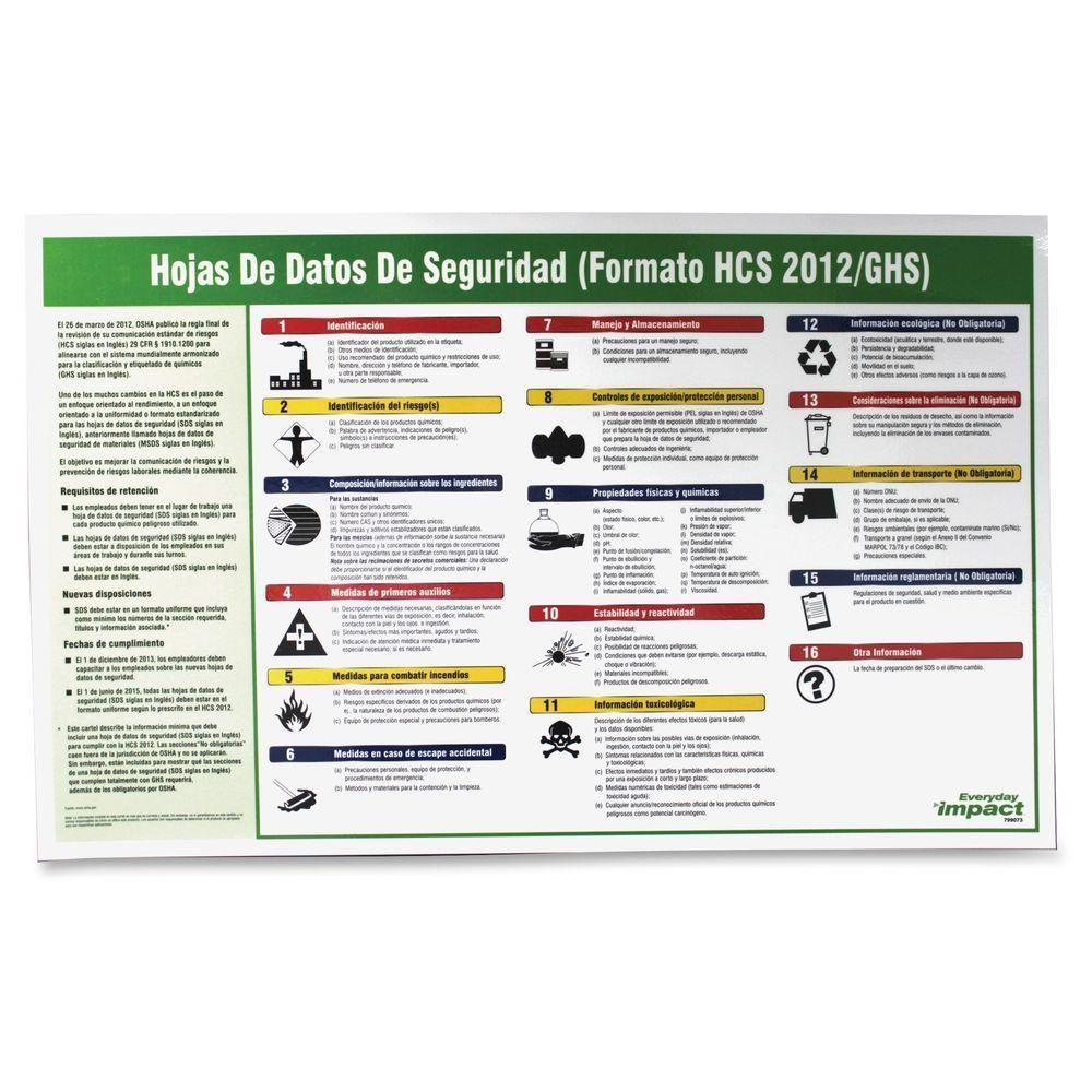 IMPACT Safety Data Sheet Spanish PosterIMP799073 Hojas