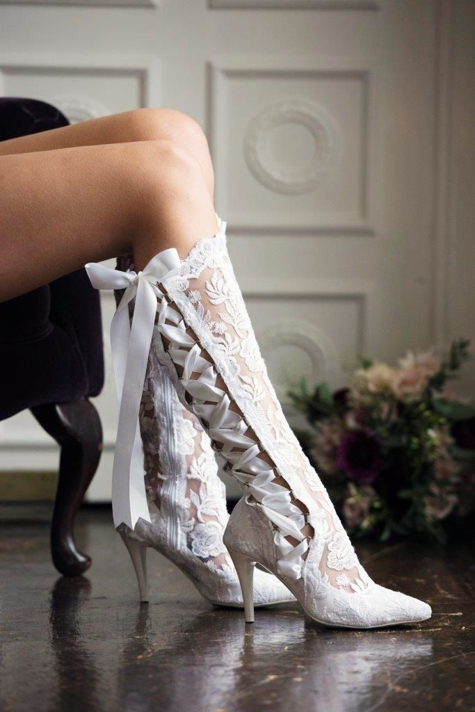 bb266603332b7 Beatrice elliot white lace knee high boot | Wedding Dreams | Lace ...