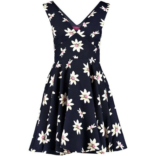 Boohoo Delia Floral Plunge Skater Dress ($30) ❤ liked on Polyvore featuring dresses, flower pattern dress, floral pattern dress, botanical dress, blue floral print dress i floral skater dress