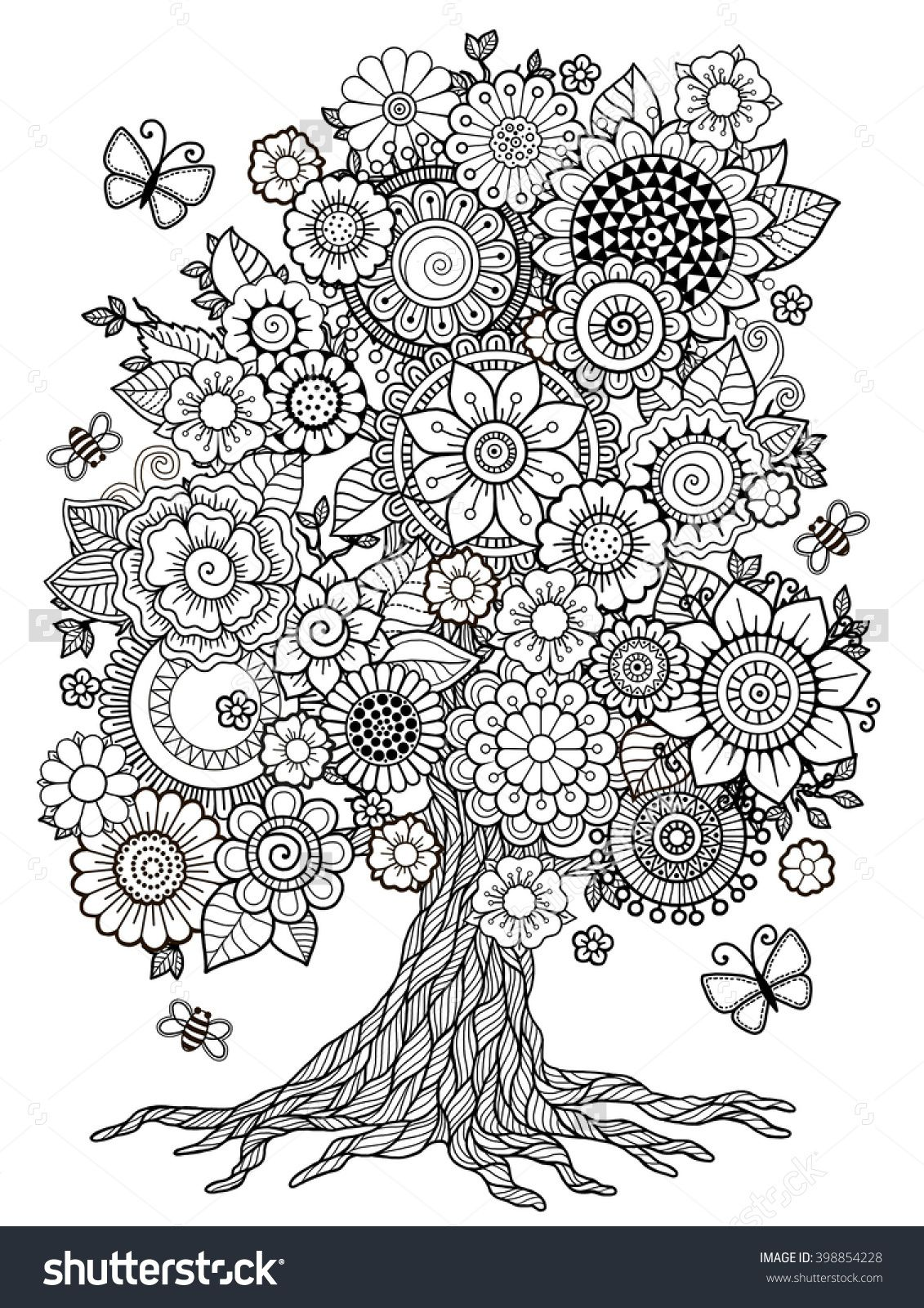 Coloring pages trees and flowers - Blossom Tree Coloring Book For Adult Doodles For Meditation 398854228 Shutterstock
