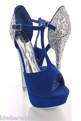 women wedding shoes  bridal shoes blue t strap open toe