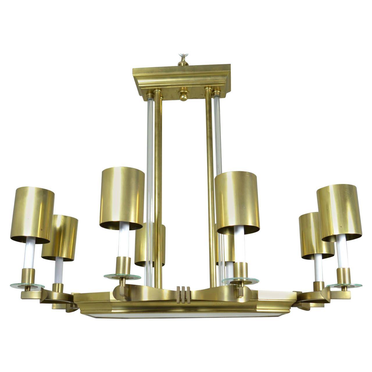 Large art deco style modernist chandelier