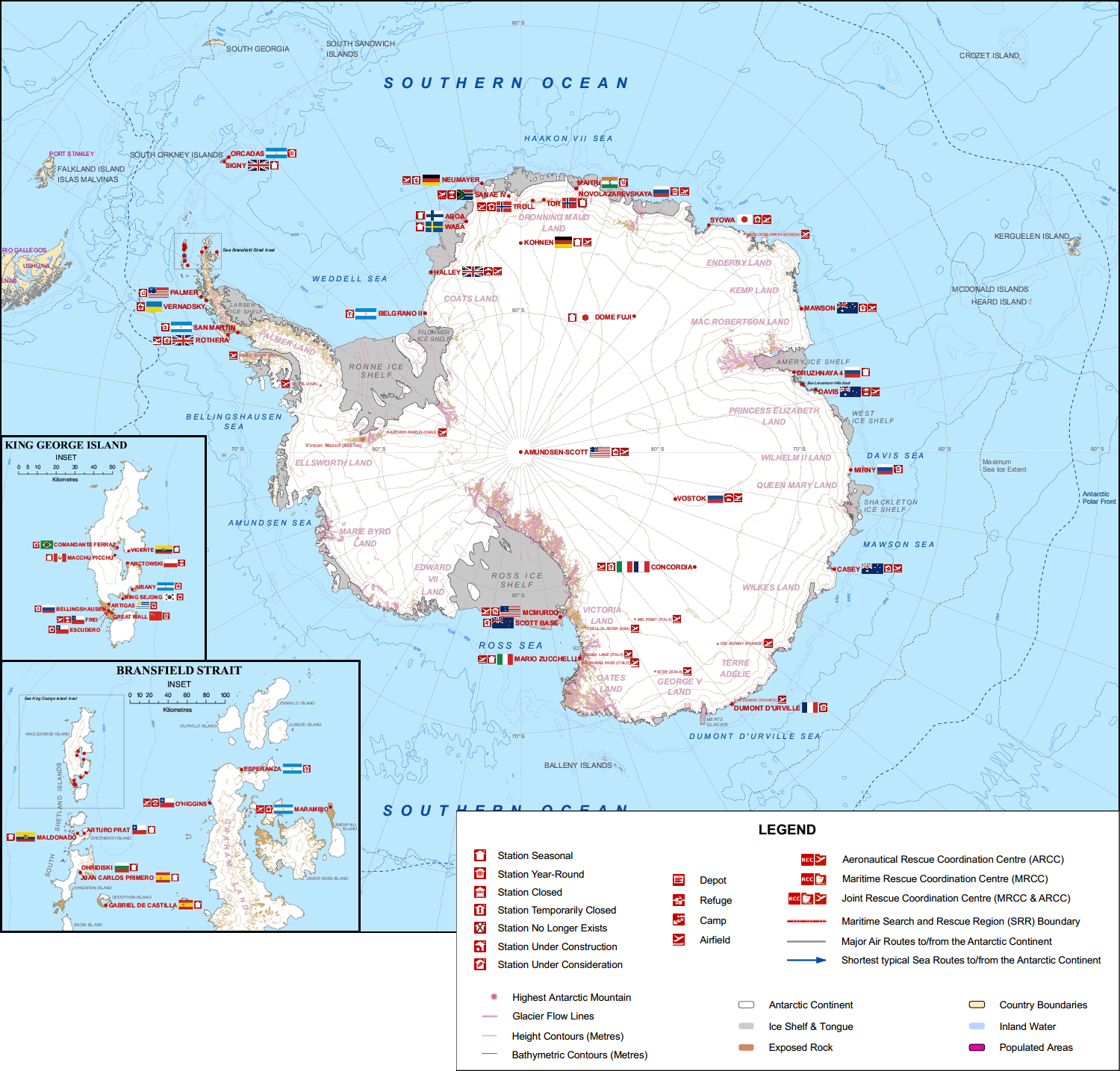 Antarctica research stations, by COMNAP #map #antarctica ...