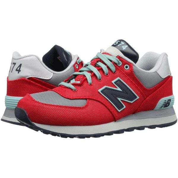 Womens Shoes New Balance Classics WL574 Grey/Red Textile