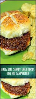 Inspired By eRecipeCards: Freezable Sloppy Joe's Recipe for 100 Sandwiches…