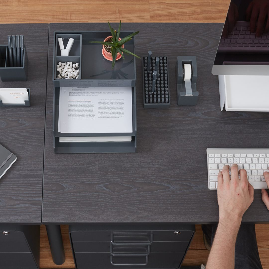 Poppin Dark Gray Desktop Collection Desk Accessories Cool And Modern Office Supplies And Furniture Workhappy Dark Gray Grey Decor Modern Office Supplies
