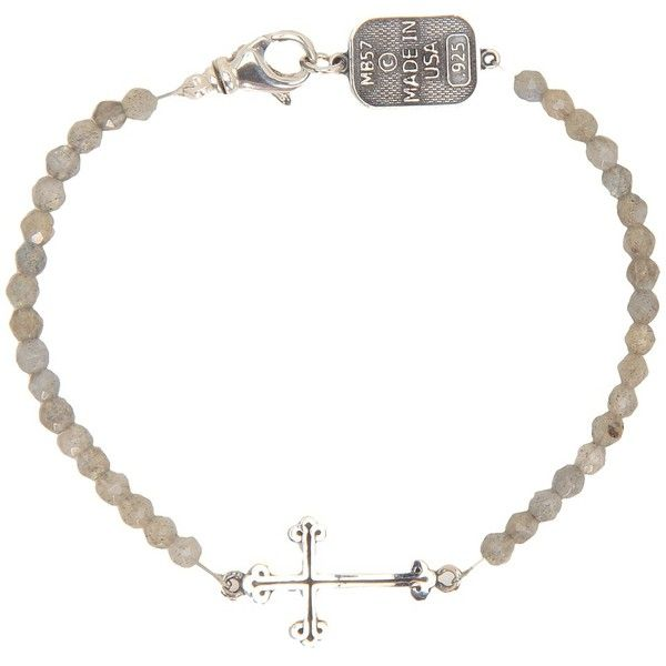 King Baby Studio Labradorite Bracelet with Small Cross Bracelet ($280) ❤ liked on Polyvore featuring jewelry, bracelets, labradorite, lobster claw clasp charms, charm jewelry, sterling silver bangles, sterling silver cross charm and sterling silver cross jewelry
