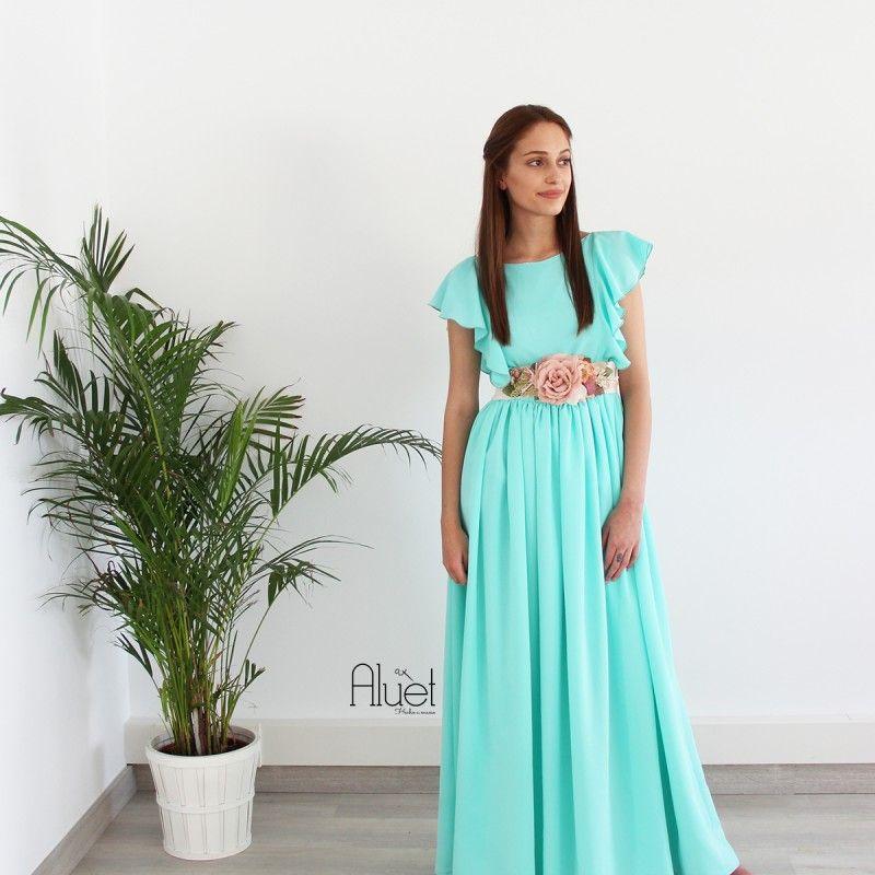 vestido de corte griego color aguamarina para boda fashion