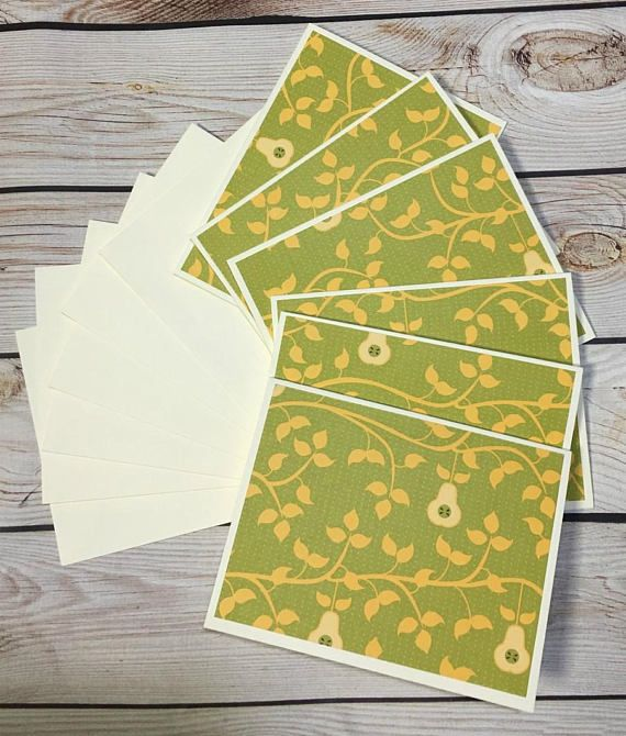 Pears/Leaves Note Card Set These notecards can be used for thank you