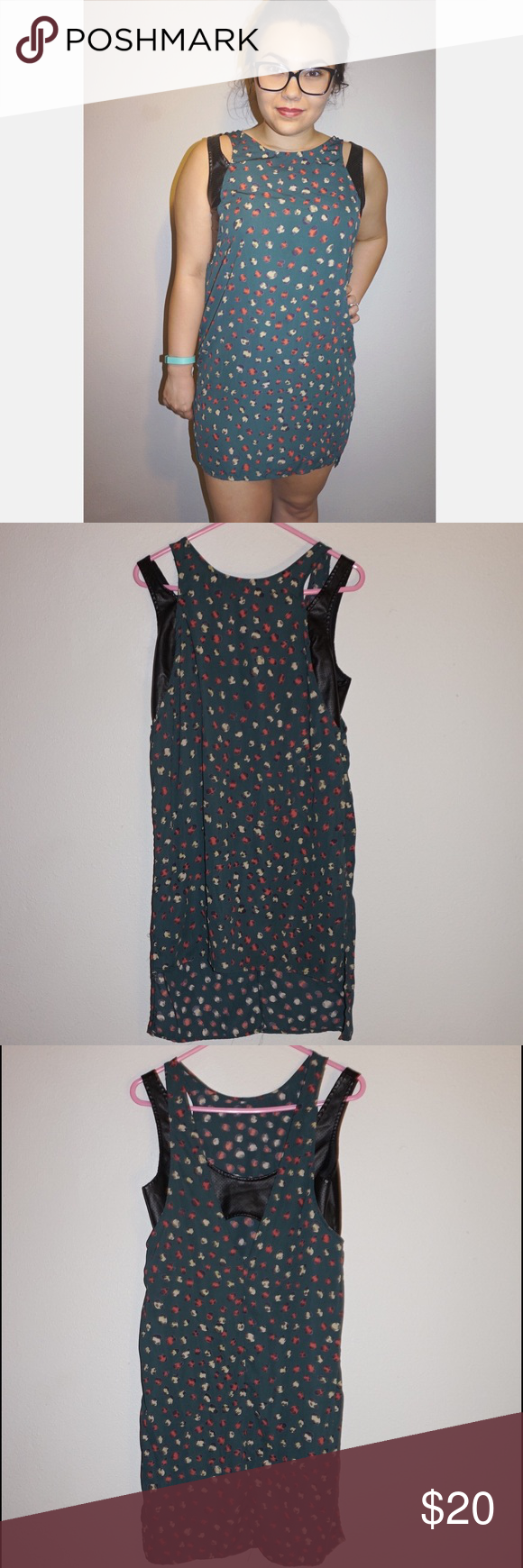 Paper Crane Dress Green chiffon hi-low dress with side slits and vegan leather mock bralette straps Paper Crane Dresses High Low