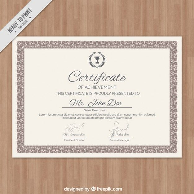 Certificate in classic style Free Vector Certificate Pinterest - new certificate vector free