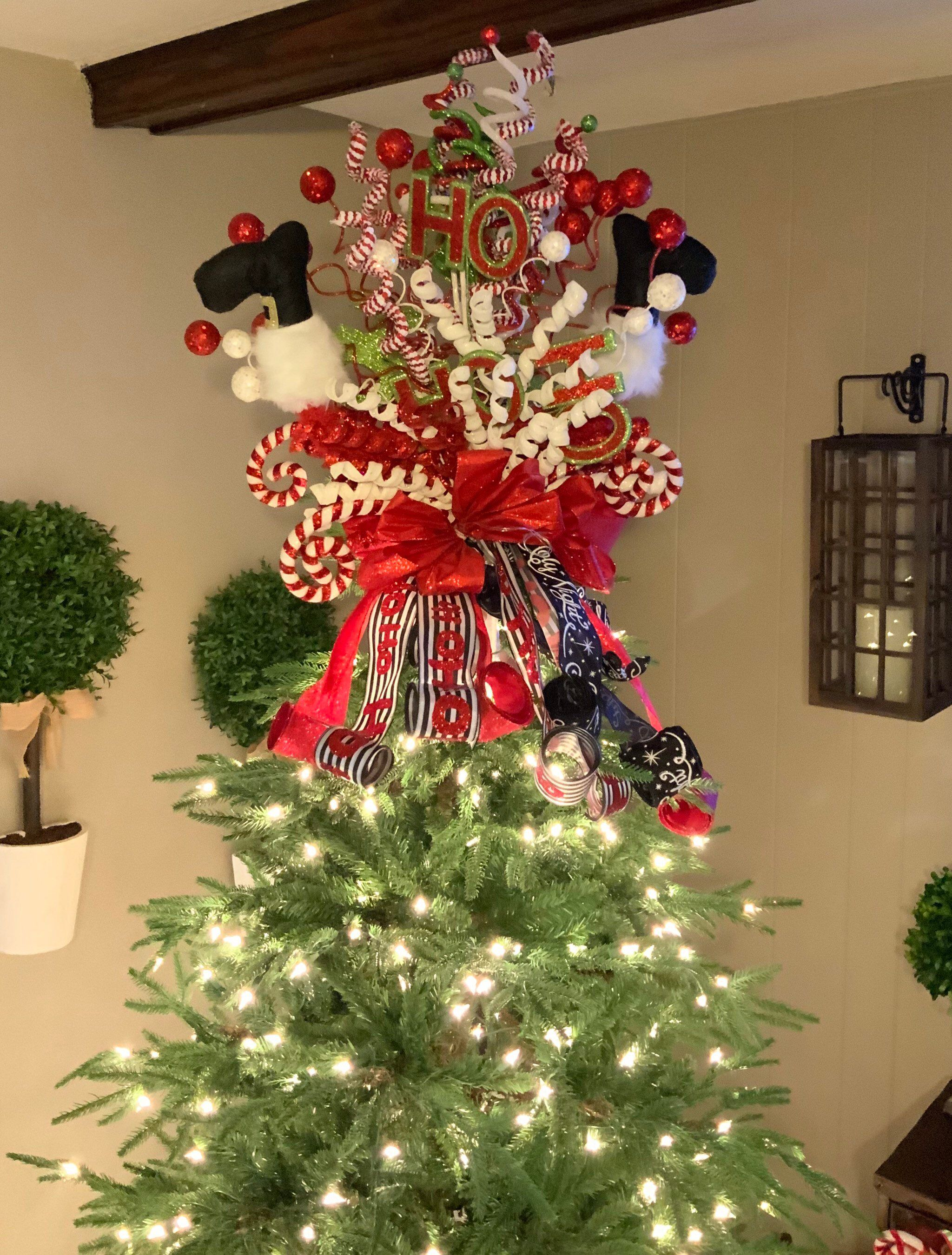 Tree Topper Santa Leg Tree Topper Christmas Tree Topper Etsy Diy Christmas Tree Topper Christmas Tree Toppers Christmas Tree Decorations