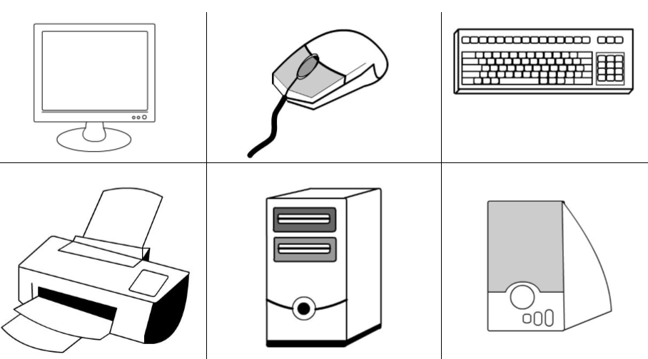 Parts of computer coloring pages