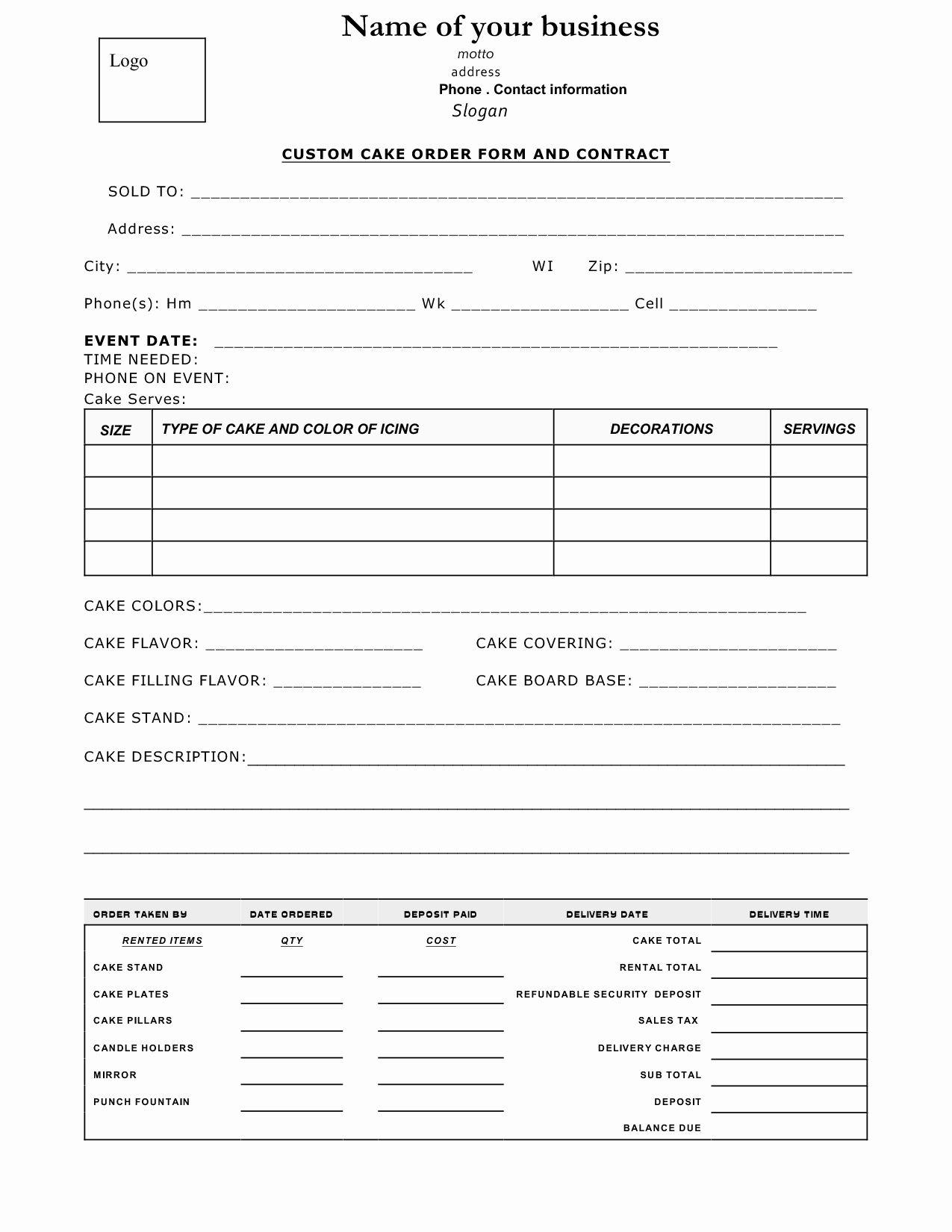 Cake Order Forms Printable Inspirational Cake Contract Sample Cakepins Wedding Cake Contract Cake Business Wedding Cake Order Form