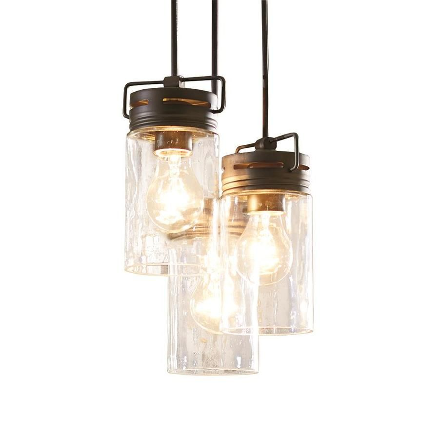 100 Allen Roth Vallymede Aged Bronze Multi Light Transitional Clear Glass Jar Pendant At Lowes Co Jar Pendant Light Bronze Pendant Light Multi Light Pendant