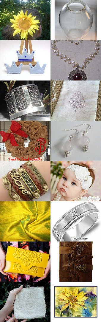 Flowers and things by Rachel on Etsy--Pinned with TreasuryPin.com #flower #headband #necklace #soapbag #jewelry #wreath #fabric