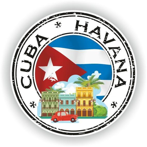 Cuba Havana Sello pegatina etiqueta de bandera redonda para el libro portátil nevera Guitarra motocicleta casco Herramienta Caja Puerta PC Barco