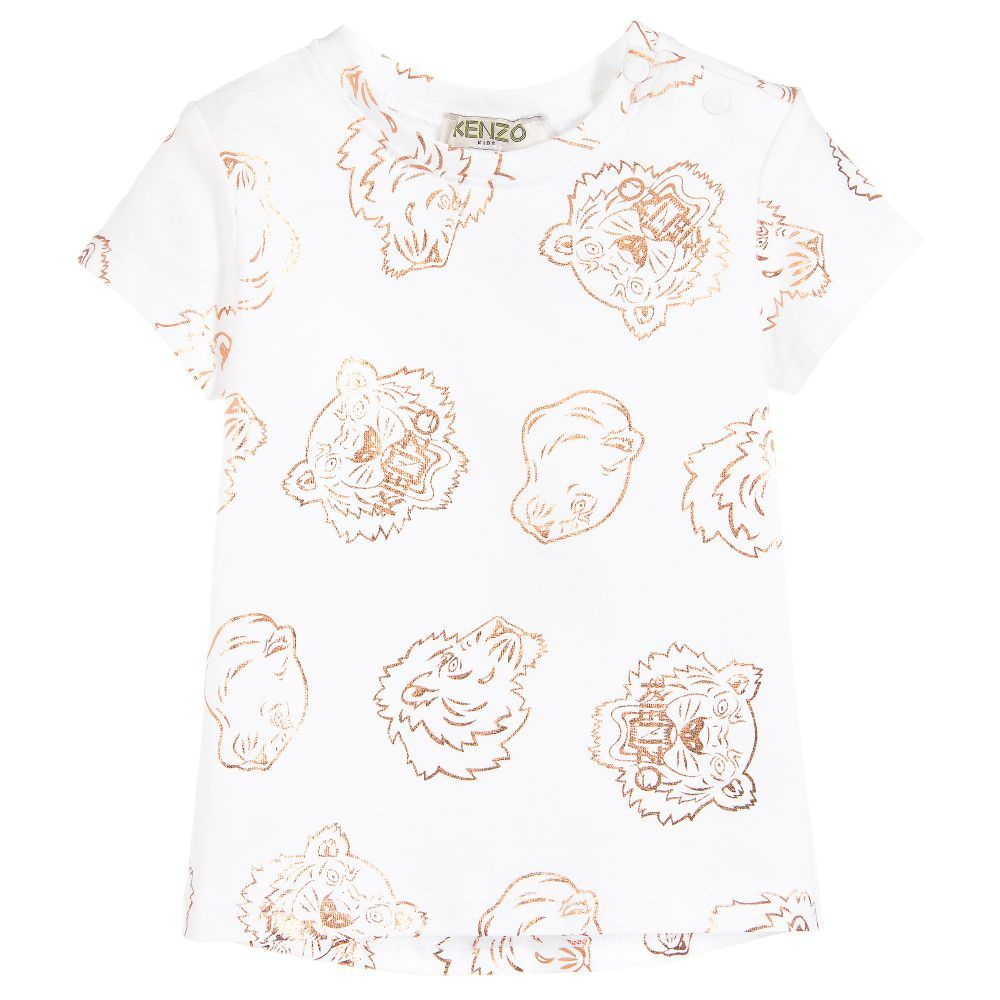 3167696b White T-shirt for baby #girls by #Kenzo Kids, patterned with a ...