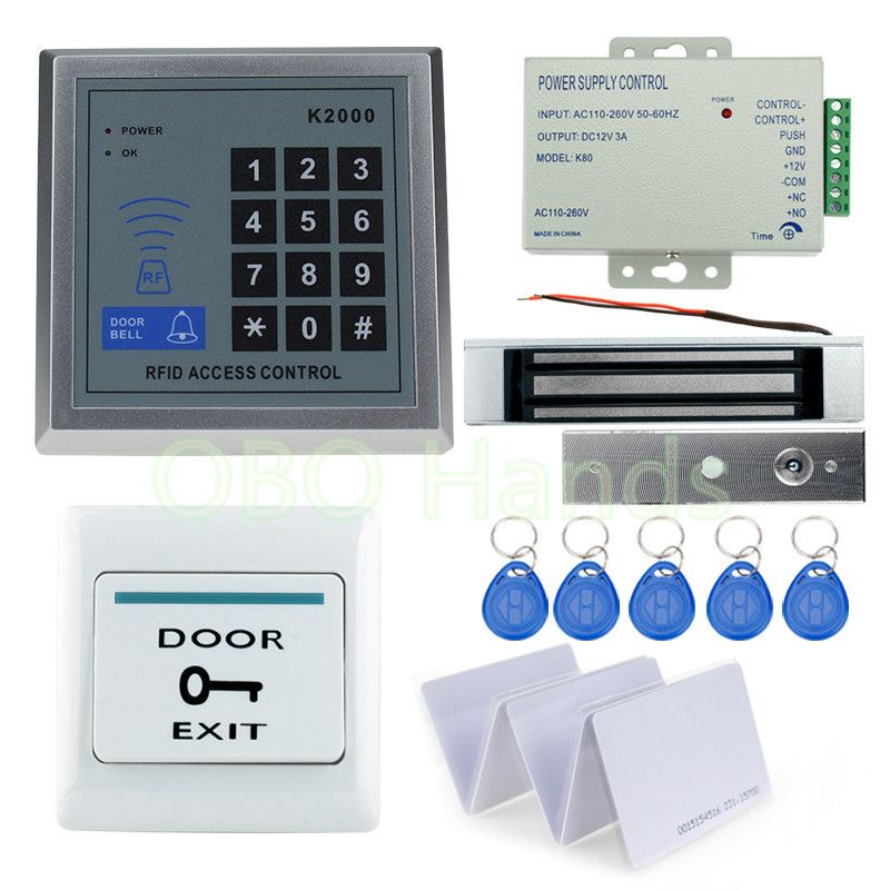 A Complete Set Of Rfid Door Access Control System Kit Set With Lock Rfid Keypad Power Magnetic Lock Door Exi Access Control Access Control System Electric Lock