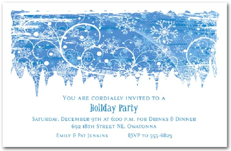 Winter Party Invitations Wording Party Invitation Card Pinterest