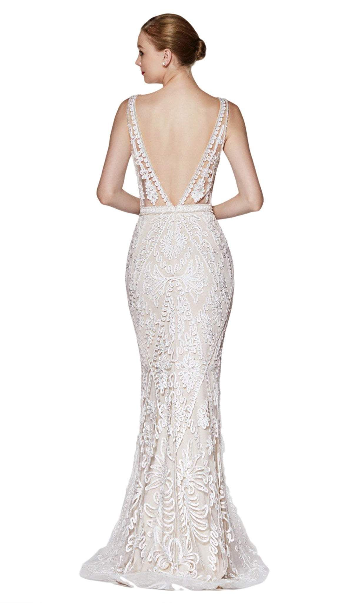 Cinderella Divine KC889 Evening Dress Prom Dress Fitted metallic gown with lace