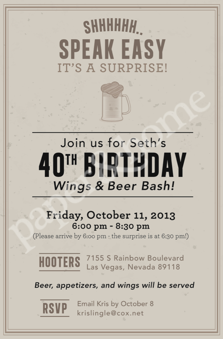 Wings And Beer Evite Surprise Birthday Invitation For MAN