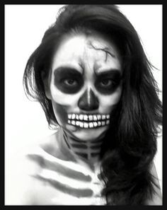 awesome skull face painting for halloween - Halloween Skull Painted Face