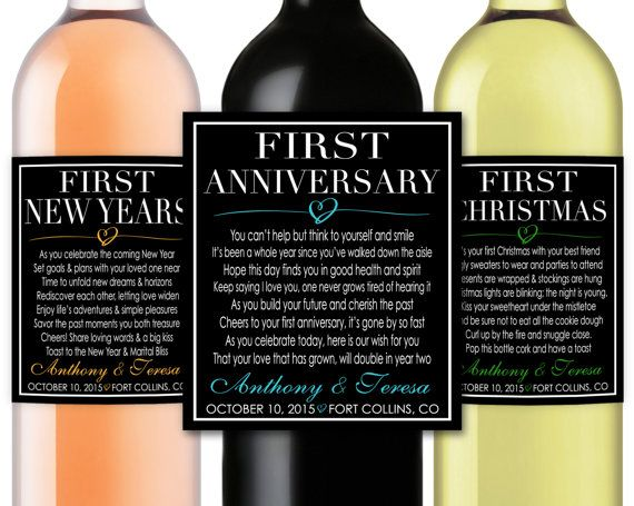 Marriage Firsts Milestones Poems Wedding Gift Wine Champagne Bottle Labels First Anniversary Honeymoon Baby Fight Valentine Item Mm9b