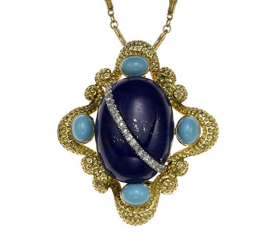 A lapis lazuli, turquoise and diamond pendant/brooch with fourteen karat gold chain