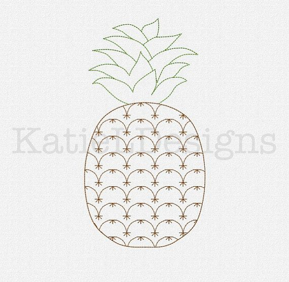 Redwork Pineapple Machine Embroidery Design Pattern Download 5 Sizes