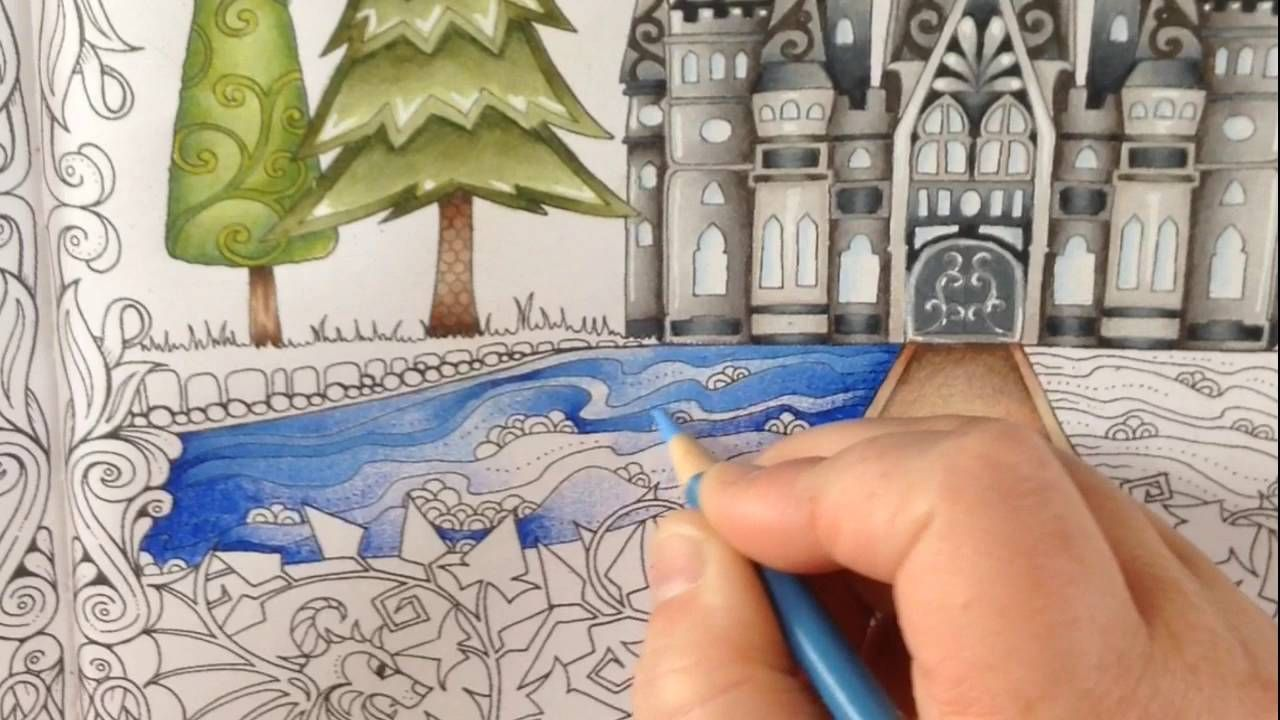 Part 3 - how to color water - coloring book enchanted forest ...