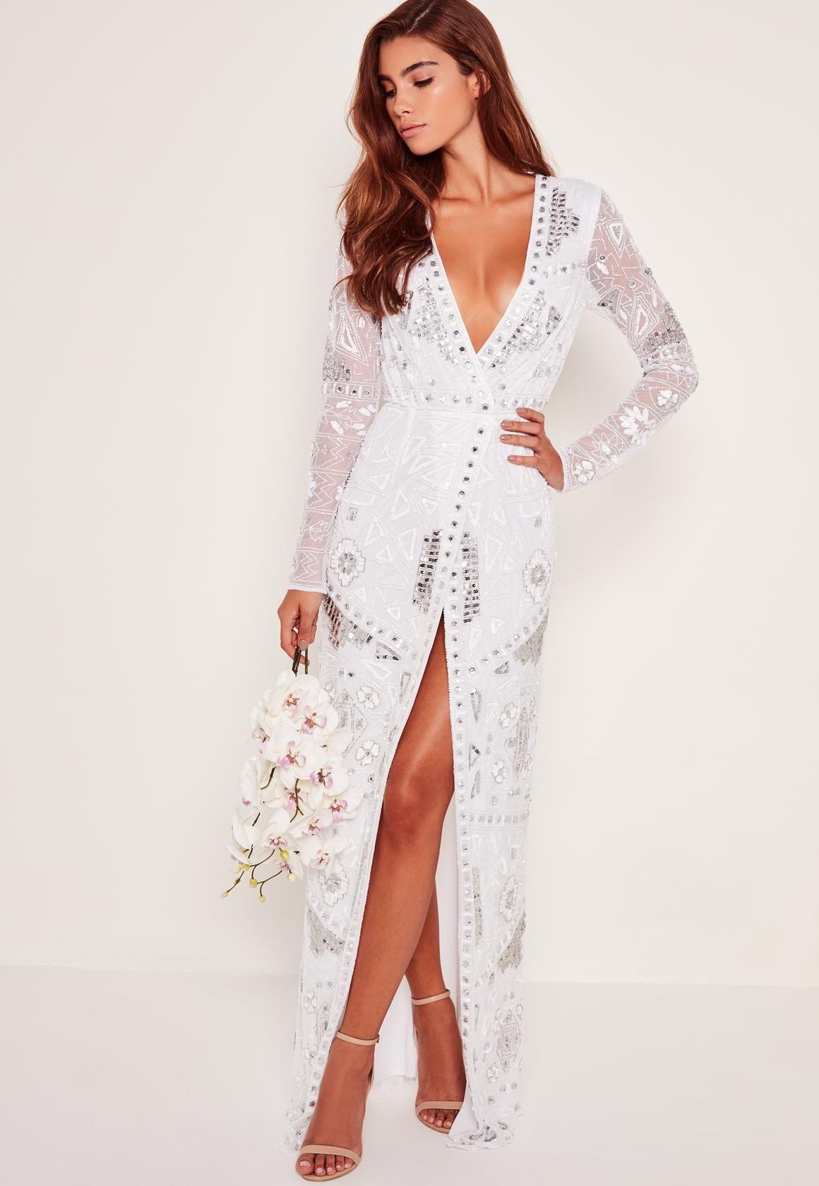 9e9f0ebc Missguided - Bridal Sequin Wrap Maxi Dress White | dresses | Dresses ...