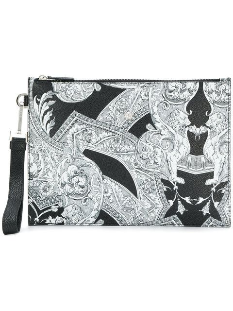 Versace printed clutch bag - Black t1Ghvt3ay