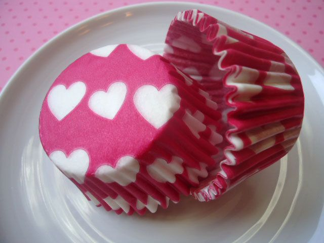Hot Pink Heart Cupcake Liners - Baking Cups (50). $4.00, via Etsy.