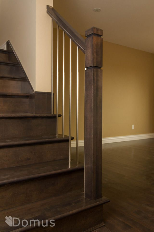 Modern Staircase With Zen Posts And Stainless Steel Spindles | Modern Newel Post Designs | Contemporary | Maple | Staircase Spindle | Modern Box | Hollow