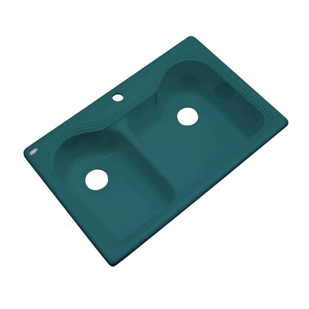 Breckenridge Drop-In Acrylic 33 in. 1-Hole Double Bowl Kitchen Sink in Teal (Blue)