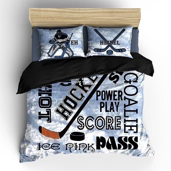 Hockey Goalie Theme Bedding Phrases And Player Toddler Twin F Queen Or King Size Also Available With Other Sports Designs Just Add Your Specific Design